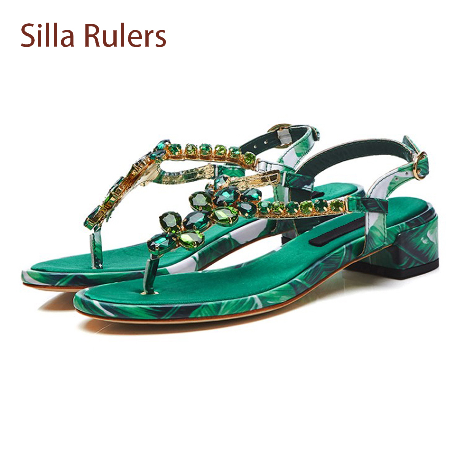 Silla Rulers summer new boho style print rhinestone sandals women flip flop t strap green crystal low heel beach casual sandals fitzgerald the love of the last tycoon