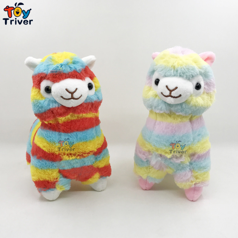 20cm Rainbow Alpaca Plush Sheep Toy Japanese Soft Alpacasso Baby Stuffed Animals Baby Kids Kawaii Gifts Home Shop Decor Craft welcome customer apron sheep alpaca maid servant plush toy stuffed doll gift for baby kids children girlfriend baby present