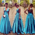 High Quality Blue Long Prom Dress Charming Satin V-Neck Backless Floor Length Evening Gowns