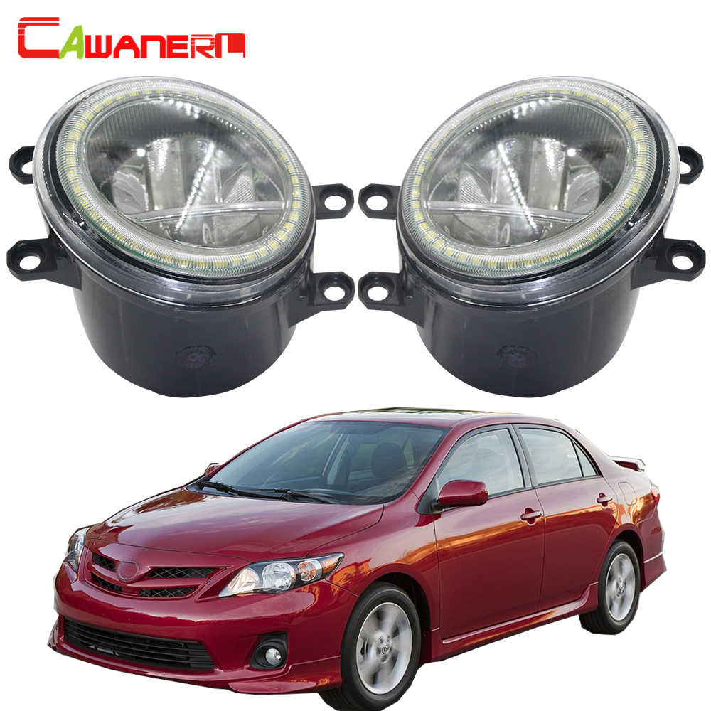 Cawanerl For Toyota Corolla 2007-2015 Car 4000LM LED Bulb Fog Light + Angel Eye Daytime Running Lamp DRL H11 12V 2 Pieces