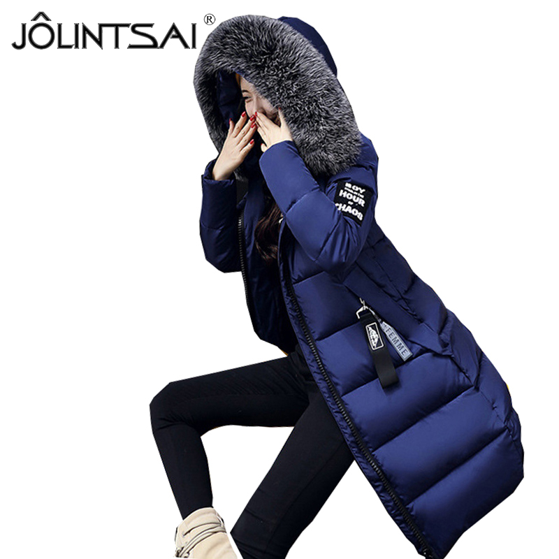 JOLINTSAI 2017 Winter Jacket Women Parka New Fur Collar Cotton Padded Coats Women Parkas Long Slim Thickened Warm Overcoat wmwmnu women winter long parkas hooded slim jacket fashion women warm fur collar coat cotton padded female overcoat plus size