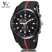 Marca V6 reloj de los deportes del neumático negro correa del silicón relojes hombres reloj Casual relojes del cuarzo de regalo 2016 Relogio Masculino