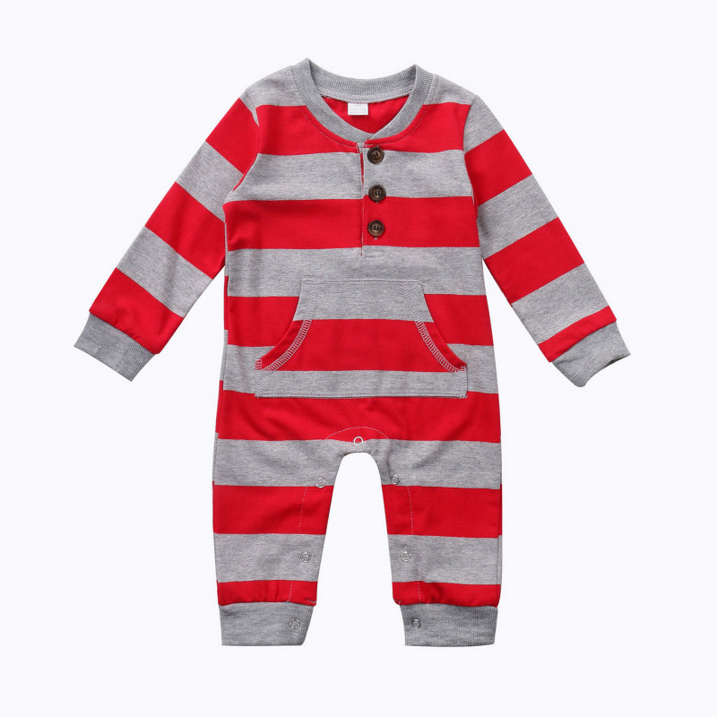 Autumn Newest Christmas Toddler Baby Boys Girls white & Red Lovely Striped Long Sleeve Romper Playsuit Cartoon Clothes Outfit