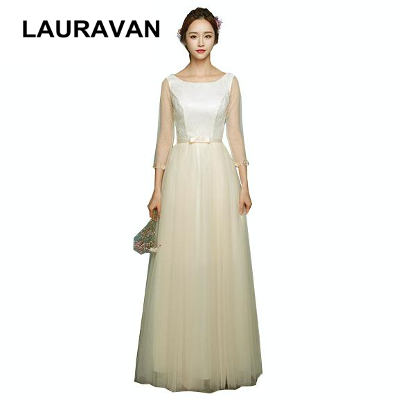robe de soiree courte elegant long champagne colored half sleeve   bridesmaid     dresses   party lace tulle   dress   ball gown for wedding
