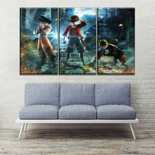 Animation Painting On Canvas Print Home Decorative Bedroom Wall Artwork 3 Piece Goku And Luffy Naruto Uzumaki Poster