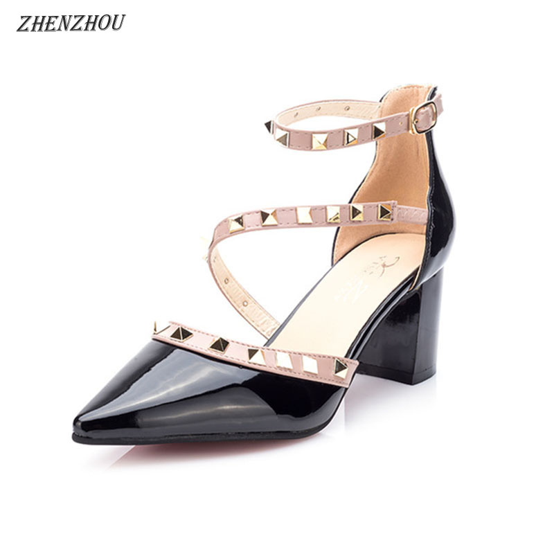 Безкоштовна доставка взуття woma 2018 літніх жінок насоси бренд OL Rivet високі підбори загострена пряжка одного взуття професійного взуття