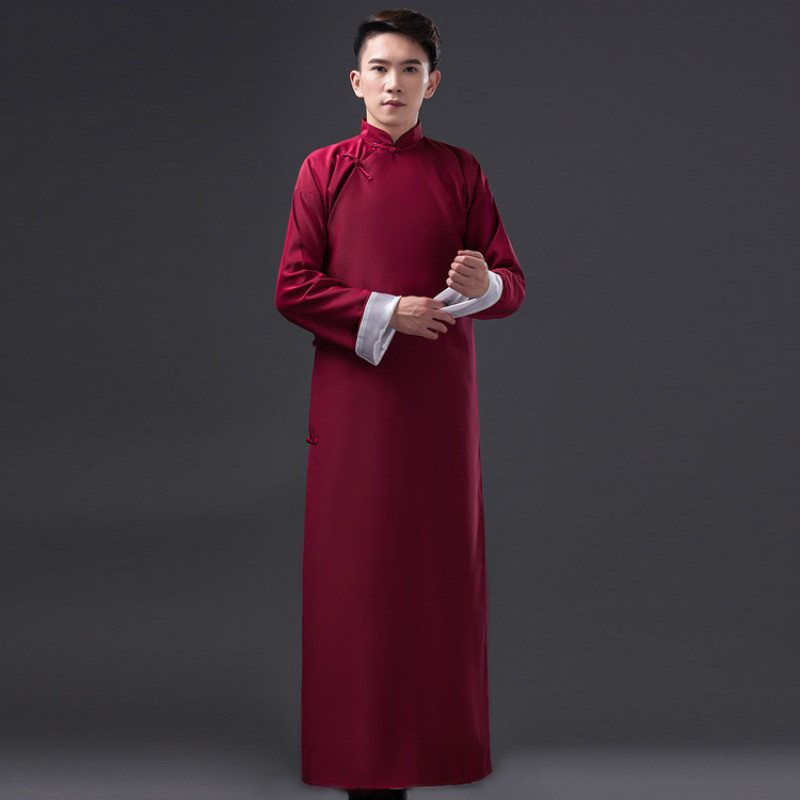 2019 New Chinese Traditional Costume For Men Long Robe Male Ancient Tang Clothing Long Gown Hanfu Costume For Stage Cosplay