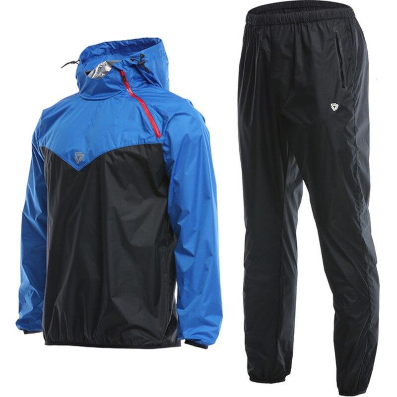 Homme Sauna costume ensemble Sport vestes + pantalon costume séchage rapide à capuchon Gym course Jogging homme entraînement entraînement accessoires survêtement