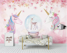 beibehang Custom Wallpaper Watercolor cartoon unicorn Background Mural House Decorative Living Room Bedroom wallpaper