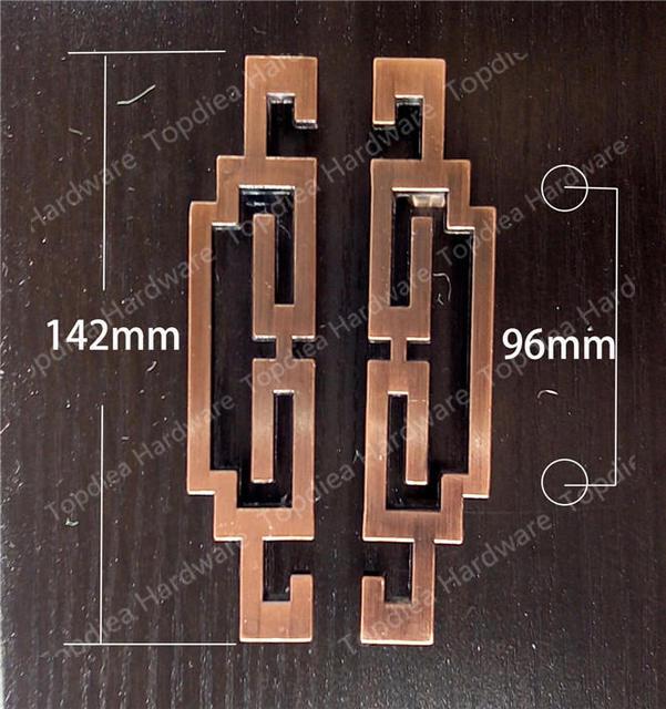 C: C 96mm liga de Zinco puxadores de móveis de estilo Chinês Cobre Bronze puxa puxadores para armários de portas de armários