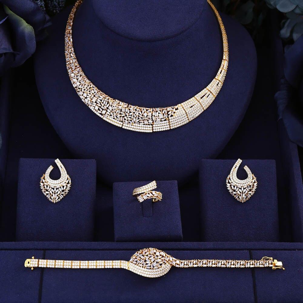 jankelly Hotsale Nigeria 4pcs Bridal Jewelry Sets New Fashion Dubai Full Jewelry Set For Women Wedding Party Accessories Design