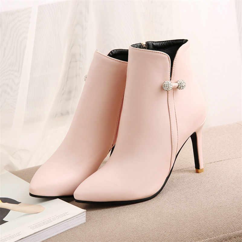 Meotina Sonbahar yarım çizmeler Kadın Botları Kristal Ince Topuk kısa çizmeler Fermuar Aşırı Yüksek Topuk Ayakkabı Kadın Kış Büyük Boy 33- 46
