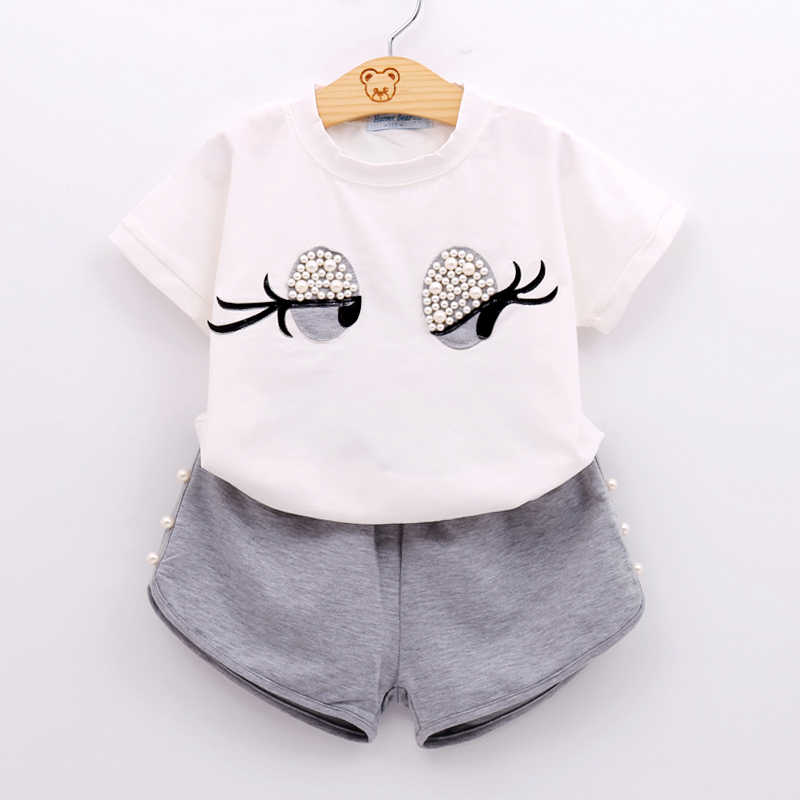 New Summer Fashion Girls Clothes Sets Cartoon T-shirt + Shorts Two-Piece Baby Girls Clothing For Children Clothes Suit