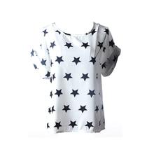 Letní dámské tričko volného střihu s hvězdami