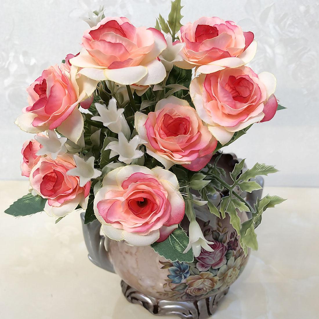 Artificial Flower 10 15 heads French Rose Floral Bouquet Fake Flower Arrange Table Decor Silk Rose Wedding Flores
