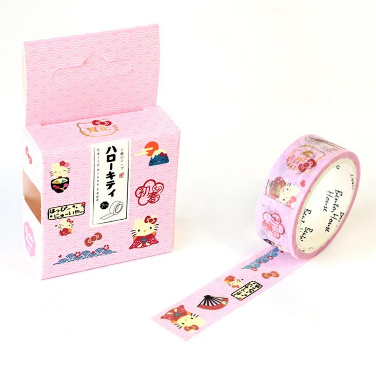 JA207 Cute Cartoon Hello Kitty Decorative Washi Tape DIY Scrapbooking Masking Tape School Office Supply Escolar Papelaria the stripes of gradient color decorative washi tape diy scrapbooking masking tape school office supply escolar papelaria