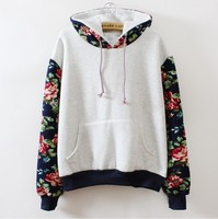 Patchwork Flower Floral Printed Autumn Female Blouse Long Sleeve Oversized Shirts Women Blouses Rock Cute Teenage