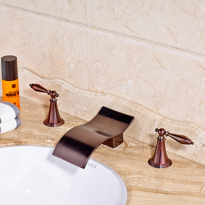 Luxury Oil Rubbed Bronze Countertop Bathroom Sink Faucet Waterfall Spout Hot and Cold Water Mixer Tap allen roth brinkley handsome oil rubbed bronze metal toothbrush holder