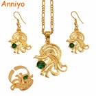 Anniyo Gold Color Bird of Paradise Pendant/Necklaces/Ring/Earrings With Green Stone,Papua New Guinea Jewelry PNG Items #097606