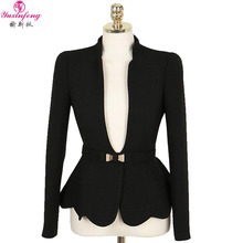 Spring Autumn Blazer Women Plus Size New Korean OL Formal ladies Blazers And Coats Ruffles Long Sleeve Slim Belted Suit Jacket