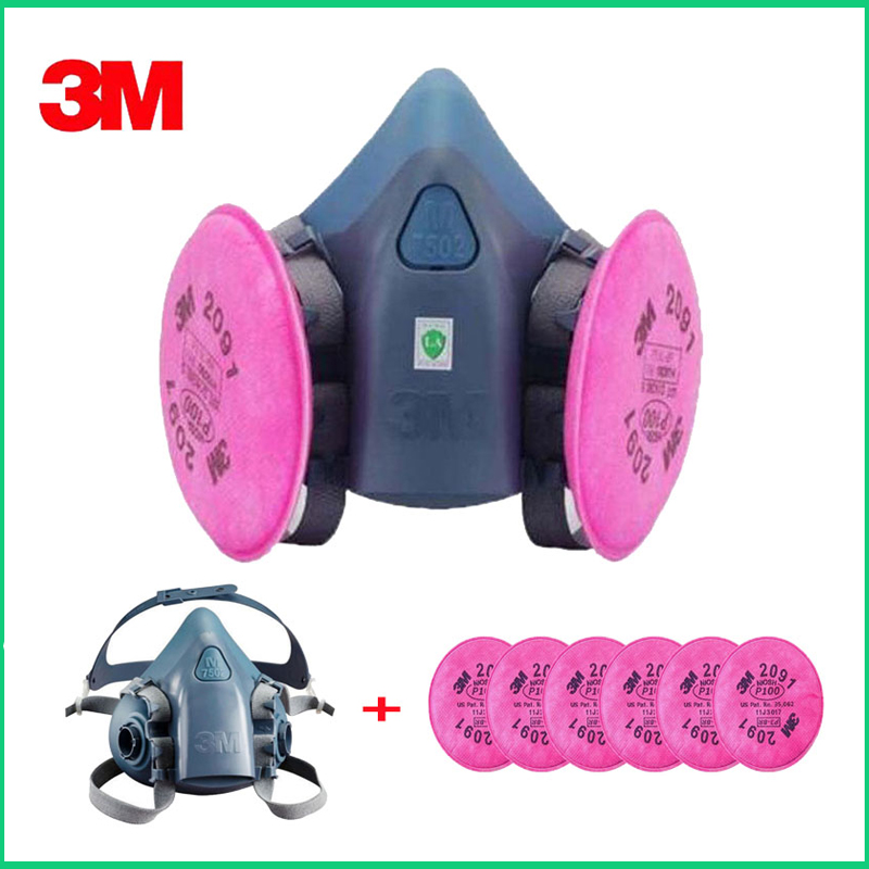 3M 7502 2091 P100 Industry Work Mask 7 In 1 Suit Paint Dust Mask Respirator Spray Dust Respirator Fliters3M 7502 2091 P100 Industry Work Mask 7 In 1 Suit Paint Dust Mask Respirator Spray Dust Respirator Fliters
