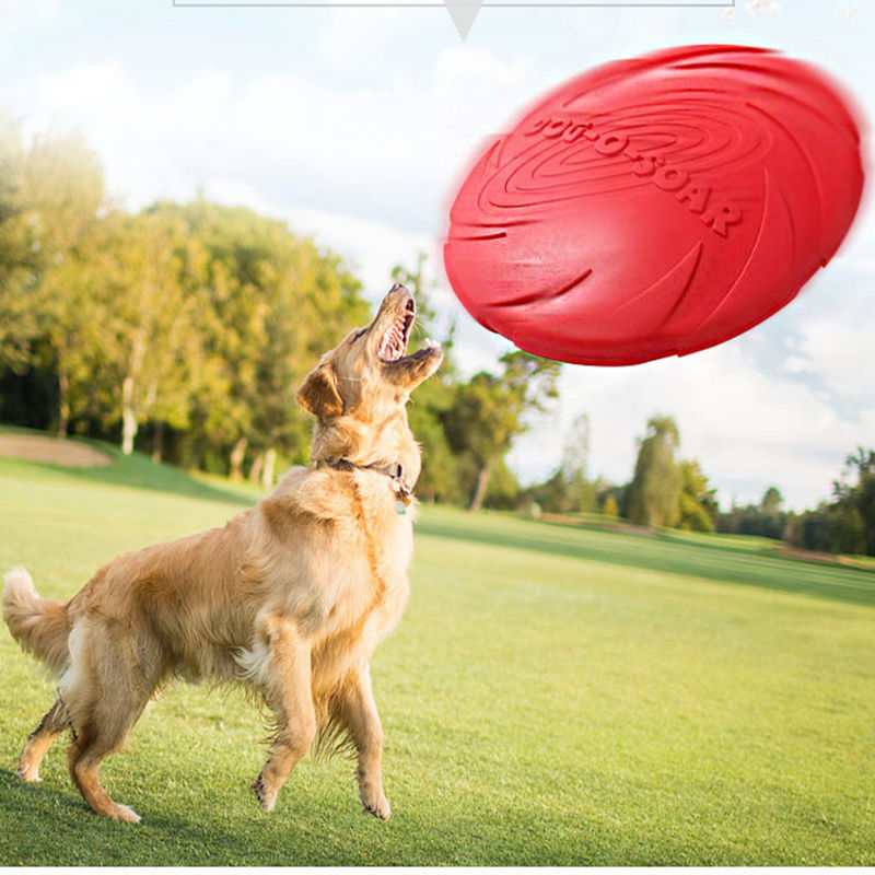 Interactive Flying Toy For Dog Frisbee Rubber Outdoor Small Dog Toy Frisbee Rubber Flying Discs Interactive Playing Red Yellow