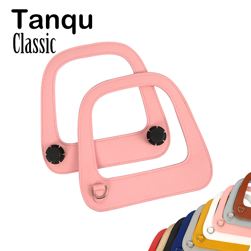 Tanqu Silver Gun Black D Ring Big Oblong Faux Edge Painting PU Leather Handle For Standard Obag Classic Bag Body O Bag Parts