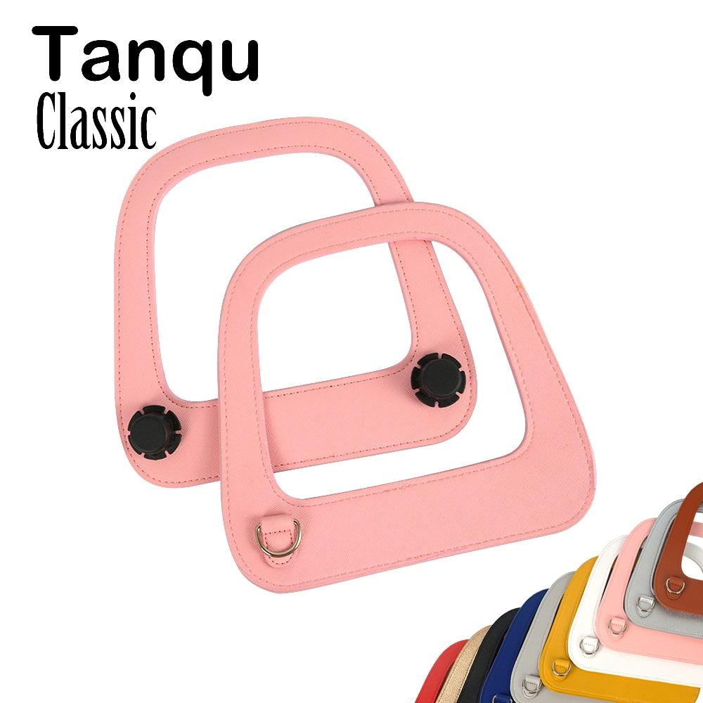 Tanqu Silver Gun Black D Ring Big Oblong Faux Edge Painting PU Leather Handle for Standard Obag Classic Bag Body O Bag Parts floral slash neck vest page 1
