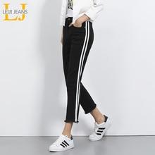 2018 LEIJIJEANS Autumn Plus Size Mid Waist Ankle Length Black White Side Stripe Panell Casul Denim Skinny Straight Women Jeans