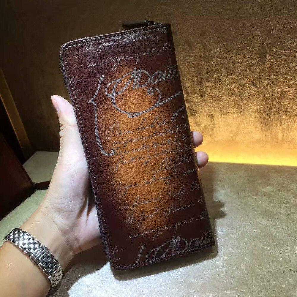 Кожаный бумажник ручной работы, Мужской Женский Длинный кошелек, итальянская кожаная сумочка, винтажная гравировка, на заказ, 545 1