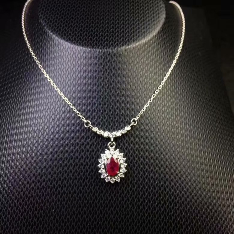 Natural red Ruby necklace 925 sterling silver  natural gemstone necklace 4*6mm ruby Birthday gift for dinner A hundred style