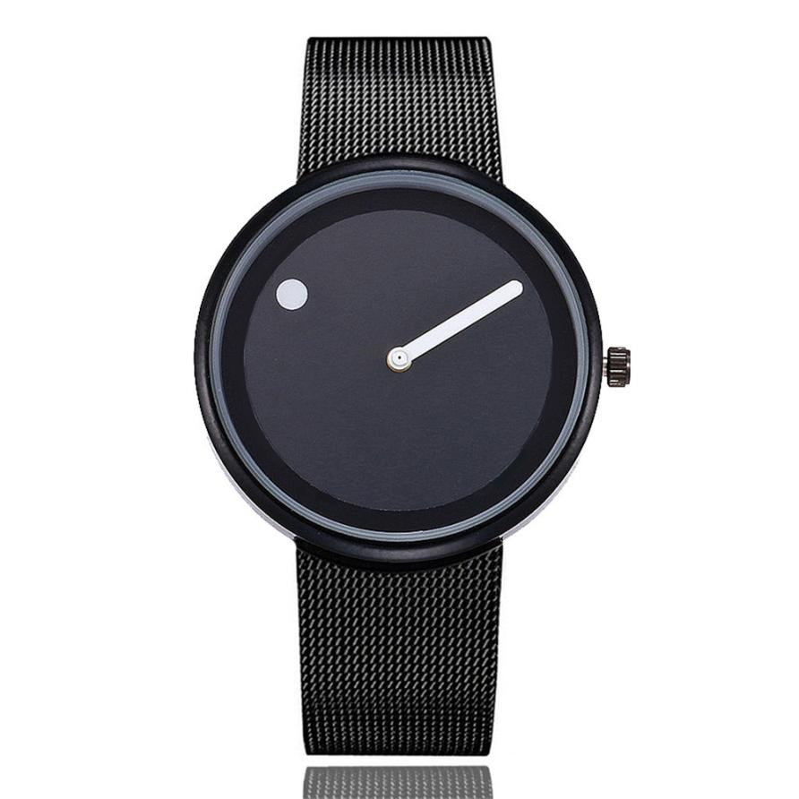 Lover's Watches Cool Minimalist Style Wristwatch Stainless Steel Creative Design Dot and Line Simple Stylish Quartz Wristwatches