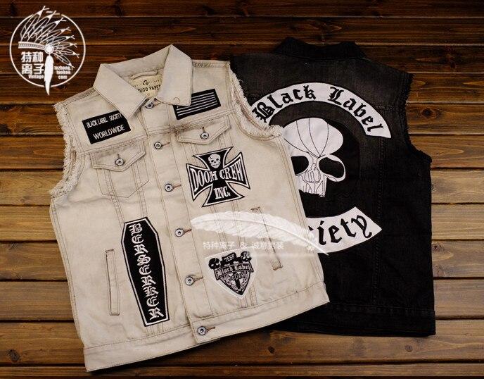 Vintage Salut-Rue Punk Rock Superacides broderie moto Hommes Veste En Jean Mâle HipHop Sans Manches Veste En Jean