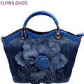 Flying birds Women Denim Bags Sweet Blue Rose purse High Quality Handbags With Diamond Ladies Tote Bag Messenger Bags LM3516fb