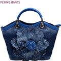 Pássaros de vôo Mulheres Denim Sacos de Doces Rosa Azul bolsa Bolsas De Alta Qualidade Com Diamante Ladies Tote Bag Messenger Bags LM3516fb