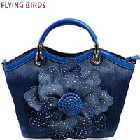 Flying Birds Women Denim Bags Sweet Blue Rose Purse High Quality Handbags With Diamond Ladies Tote