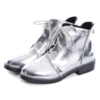 HEE GRAND Silver Gold Boots Women Lace up Ankle Boots 2019 Platform Shoes Woman Slip On Creepers Casual Flats XWX6224