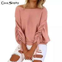 Cova Sophy Knitted Autumn Blouses Skew Collar Fashion Long Sleeve Batwing Sleeve Top Knitting Wool Shirts