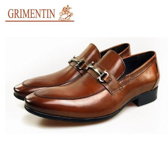 Mens genuine leather shoes brand designer slip on black brown Italian formal dress loafers GRIMENTIN