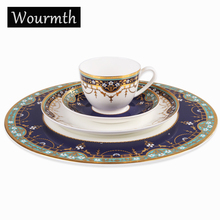 Wourmth Vintage Painting Bone China Dinnerware Sets Dishes and Plates Advanced Cutlery Tableware Set