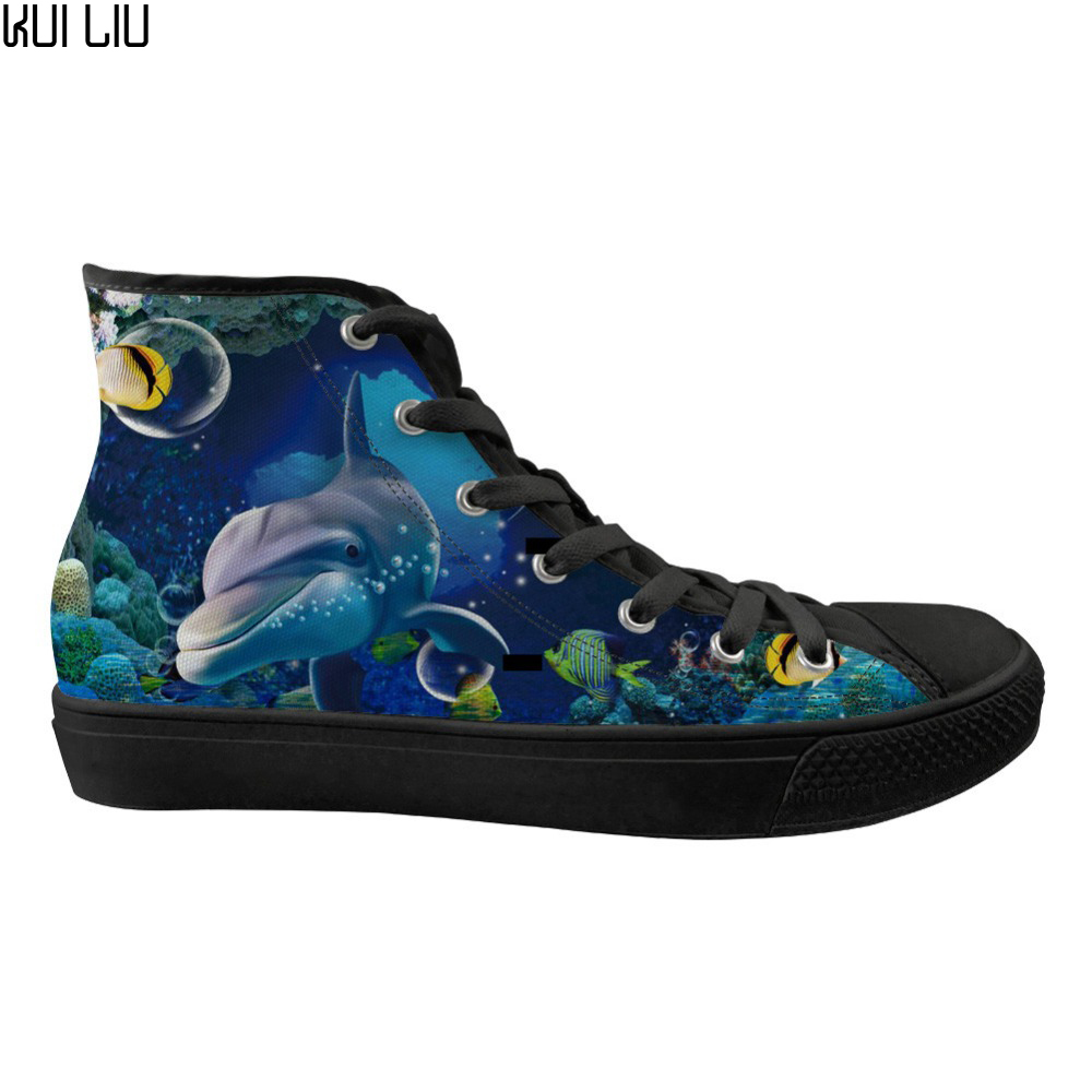 Customized Fashion Design Men's Vulcanized Canvas Shoes 3D Cute Dolphin Printed High Top Lace-up Casual Flats Sneakers 2019 New