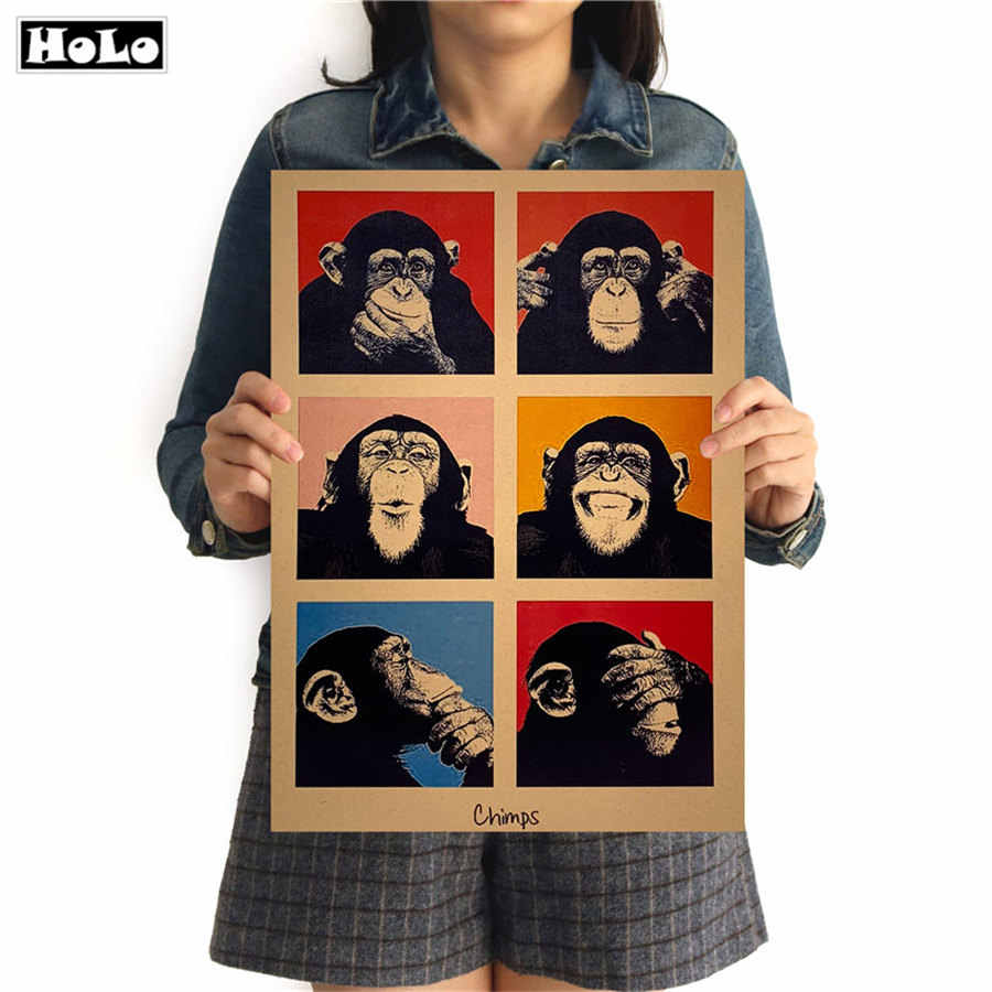 Gorilla Classic Vintage Poster Paper Retro Poster Wall Art Sticker Cafe Bar Living Room Home Decor Painting 42x30cm GGB097