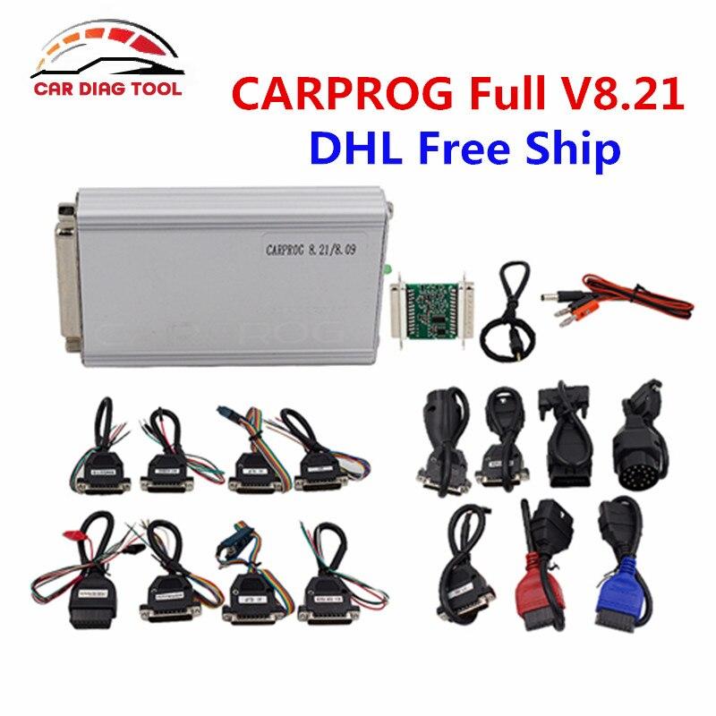 Цена за 2017 CARPROG Полный V8.21 автомобиль прог программист для ЭБУ/Подушка безопасности/Радио/тире/Immo ЭБУ чип-тюнинг инструмент с полным Адаптеры для сим-карт DHL Бесплатная
