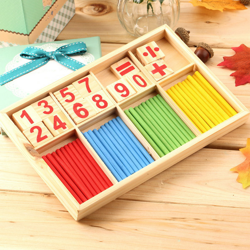 Hot! 1PC Intelligence Great Toys Montessori Math Wooden Material Color Calculation Early Education Enlightenment Toy New Sale