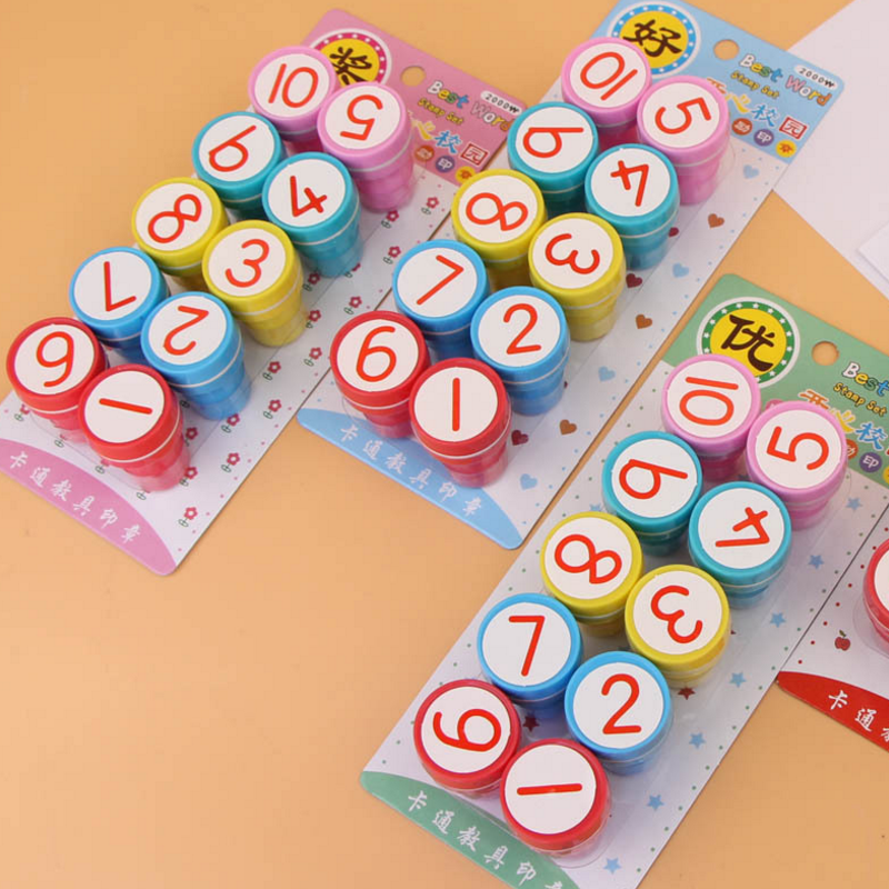 1set fun DIY Number Drawing Toy Sign Background Design Self Ink Rubber Stamp Seal Paper Craft Scrapbooking Decoration Gift