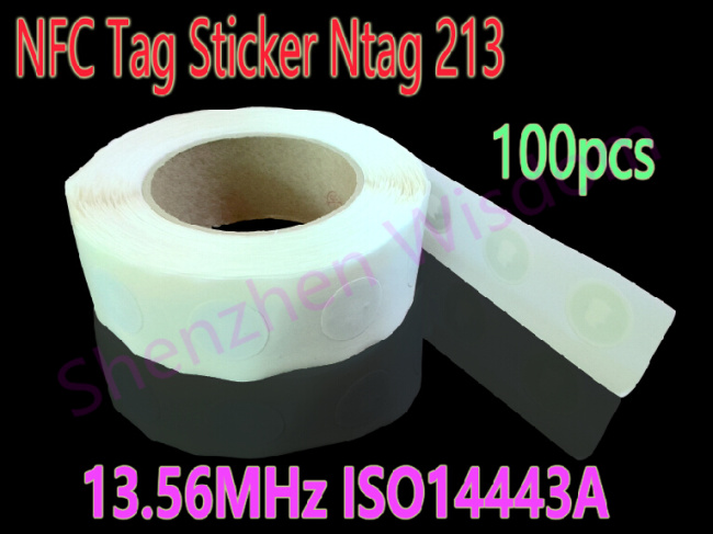 100pcs/Lot NFC Tag NFC Sticker Ntag213 ISO14443A 13.56MHz Universal Lable For All NFC Enabled Phones