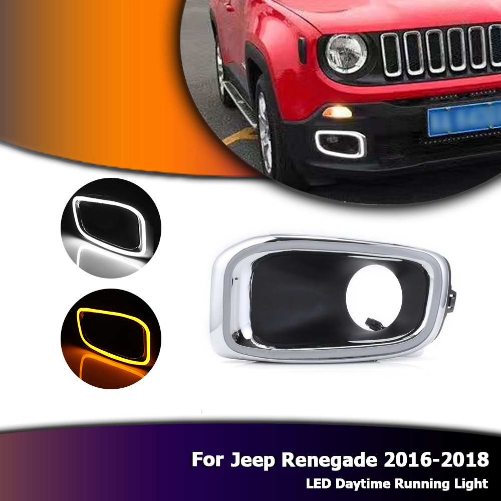 New Auto Car Daytime Running Light Exact Fit Switchback LED DRL Lights with Yellow Turn Signals For Jeep Renegade 2016-2018 D35 1set car accessories daytime running lights with yellow turn signals auto led drl for volkswagen vw scirocco 2010 2012 2013 2014