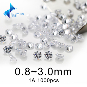 1000Pcs 1A 0.8~3mm White Cubic Zirconia Stone Round Shape Europe Machine Cut Loose CZ Synthetic Gemstone For Jewelry(China)