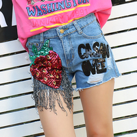 2017 New Arrive Summer Women Tassel Strawberry Pattern Retro Style Short Jeans Girls Fashion Ripped Hole