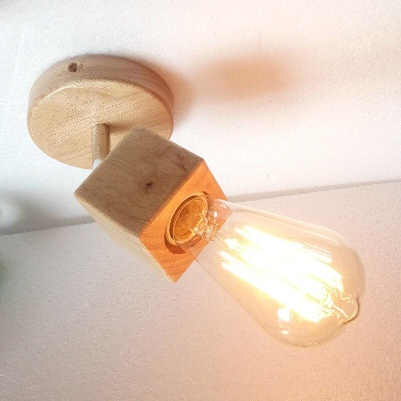Творческий деревянные настенные лампы современный минималистский гостиная коридор балкон лампы СВЕТОДИОДНЫЕ деревянный спальня ночники лампы стиль